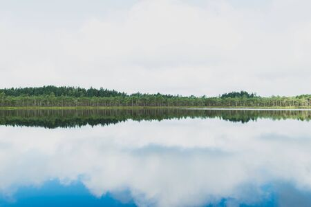 Landscape view of wild, calm and black lake in the middle of the woods during early summer morning with blue sky reflection on water surface 写真素材