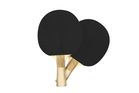 Two black table tennis rackets with wooden handles isolated on white background