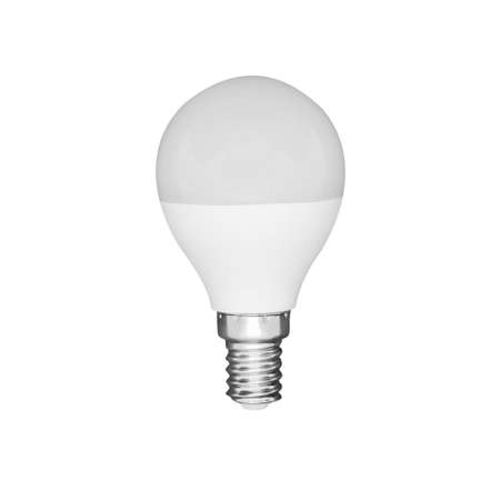 Close-up view of LED white light bulb isolated on white background Zdjęcie Seryjne