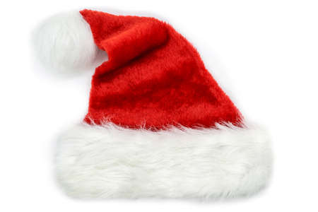 Christmas concept. Red Santa Claus Christmas hat with copy space isolated on white background