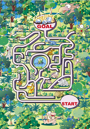 Maze of valleys with dinosaurs and monsters
