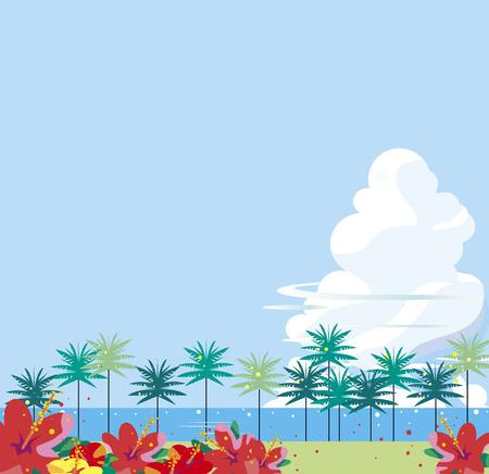 Tropical coast where hibiscuses bloom Illustration