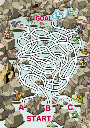 Maze _ Valley with dinosaurs and monsters