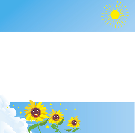 Sunflower and summer clouds and shining sun  イラスト・ベクター素材