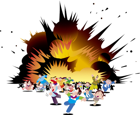 Run away from a big explosion Illustration