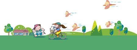 Early summer children Illusztráció