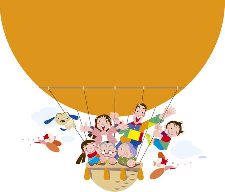 Familie, die einen Ballon nahm