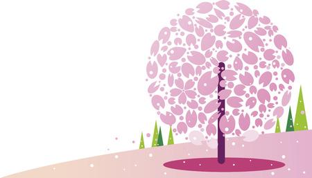 Cherry blossoms and hill background Ilustração