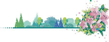 Azalea forest background 일러스트