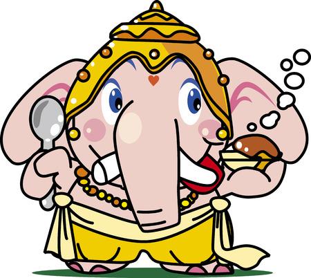 Ganesha, the Elephant Character  イラスト・ベクター素材