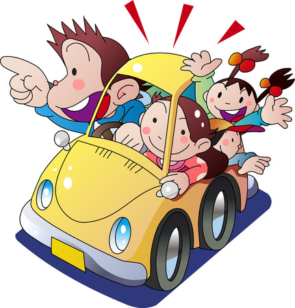 Family to go out on private car 向量圖像