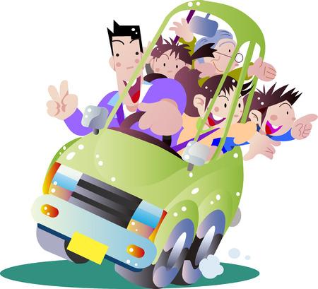 Familie mit dem privaten Auto ausgehen Vektorgrafik