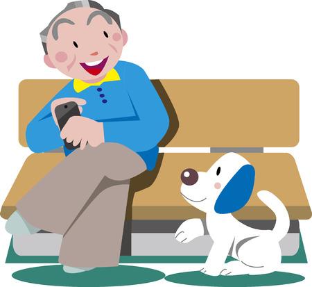 Old man and dog Vektoros illusztráció