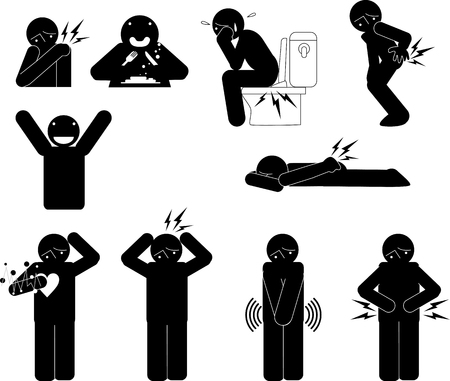 A variety of men silhouettes of bad physical condition Vector Illustration