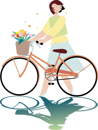 Bicycle and ladies Illustration