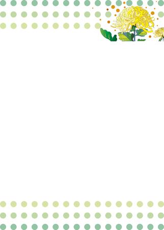 Japanese chrysanthemum flower letterhead  イラスト・ベクター素材