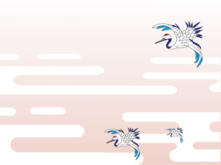 Traditional Japanese clouds and cranes  イラスト・ベクター素材