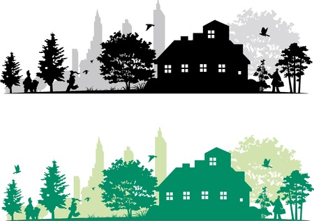 Green city silhouette