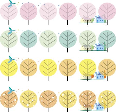 Street tree tree of the four seasons