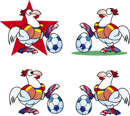 Chicken football illustration  イラスト・ベクター素材