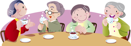 old people at tea time