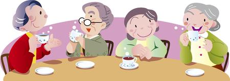 personnes âgées à l'heure du thé Vecteurs