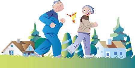 Una pareja de ancianos trotando