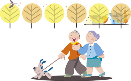 A couple walking with a dog Stock Vector - 109508734