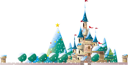 Castle with Christmas tree