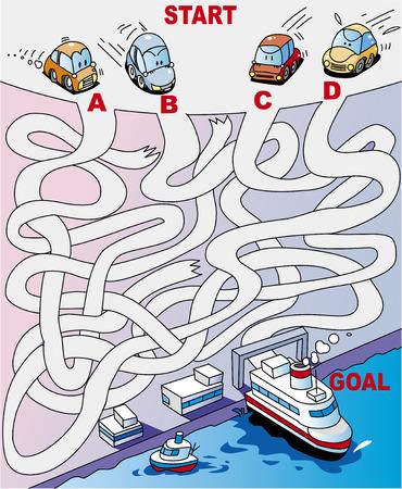 Maze Car Ferry Ilustração