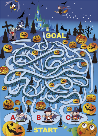A scary maze of Halloween