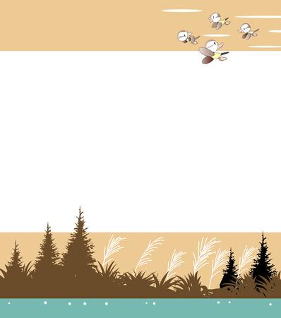 Seasonal background where migratory birds return to the south