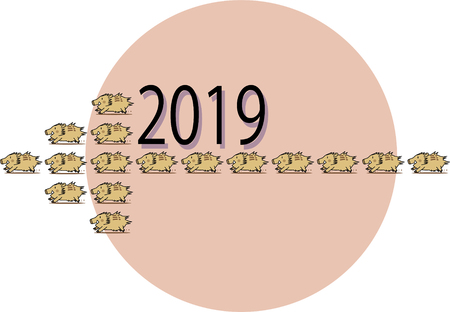 Zodiac sign of New Years card Иллюстрация