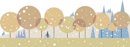 Running in the forest on the first snowfall day Illustration