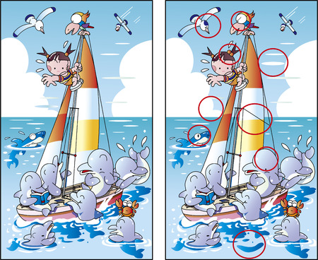 Dolphin and yacht painting mistake finding quiz Illustration