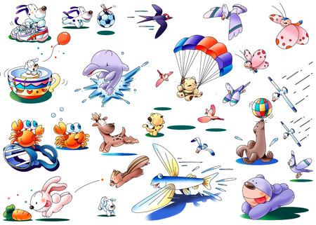 Cute animals illustration collection Stock Photo