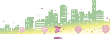 Spring streets and butterflies Illustration