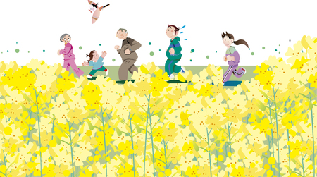 Running at family as a rape blossoms bloom Illustration