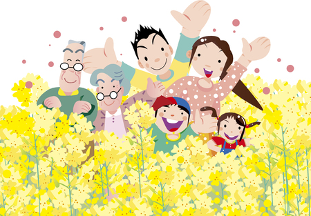 A family surrounded by rape blossoms