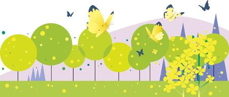 Camino de primavera donde las mariposas bailan para violar flores