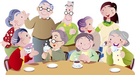 Elderly conversation in the tea room
