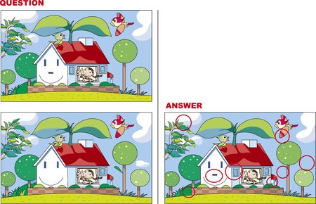 Looking for mistakes Quiz, Eco House Illustration