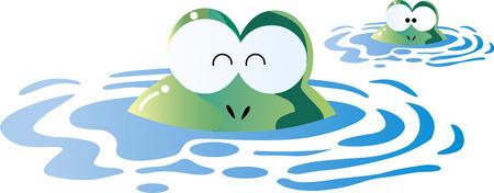 Rainy frog frog parent and child Illustration