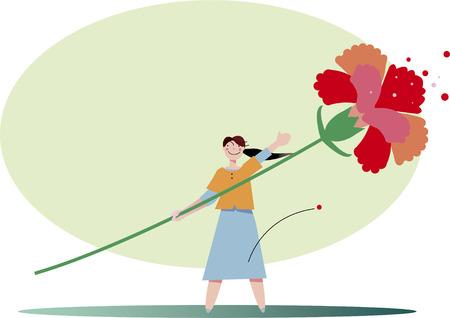 Mothers Day carnation gift Illustration