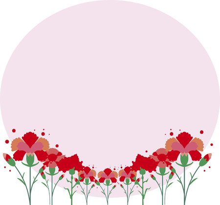 Card illustration for Mothers Day of carnation