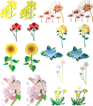 Flower cut collection Stock Illustratie