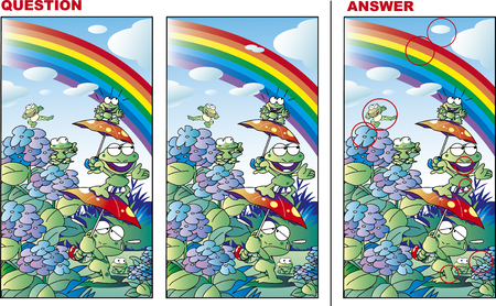 Mistake Search Quiz Frogs and Rainbow and Hydrangeas