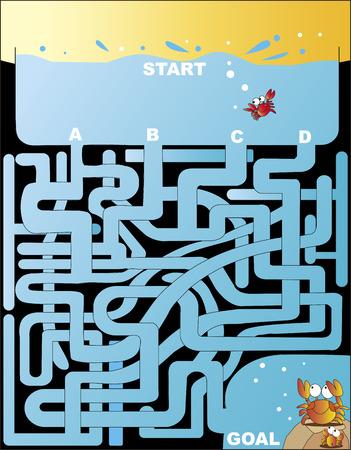 Maze returning to the burrow of crab Illustration