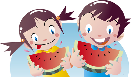 Children eating watermelon in summer