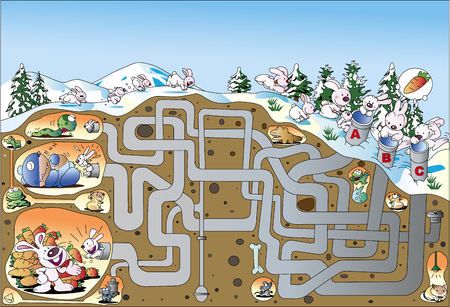 A maze reaching the hibernating hole of a rabbit